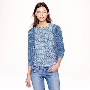 J. Crew BLEACHED-OUT INDIGO TOP Summer Chambray